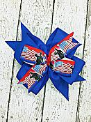 Soldier Military Flag Red White and Blue 4 Inch Hair Bow