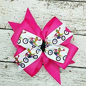 Pink Dirt Bike Motocross 4 Inch Hair Bow