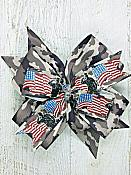 Light Camo Soldier Military Flag 4 Inch Hair Bow