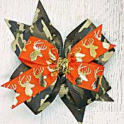 Camo Orange and Gold Deer Head Hunting Princess 4 Inch Hair Bow