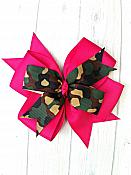 Camo and Hot Pink 4 Inch Hair Bow