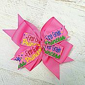 First Grade Princess Pink 4 Inch Hair Bow