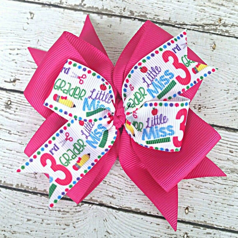 Third Grade Hair Bow, Little Miss 3rd Grader Hot Pink 4 Inch Hair Bow