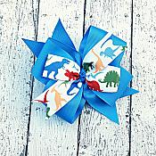 Dinosaur Blue 4 Inch Hair Bow