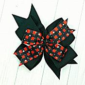 Buffalo Plaid Black and Silver 4 Inch Hair Bow