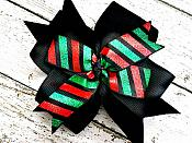 Black, Green and Red Glitter Christmas Holiday 4 Inch Hair Bow