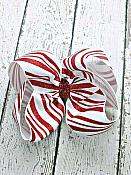 Candy Cane Stripe White and Red Glitter Boutique Twisted 4 Inch Hair Bow