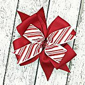 Candy Cane Stripe Cranberry Red and White Glitter 4 Inch Hair Bow