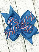 Christmas Candy Cane Light Navy Blue 4 Inch Hair Bow