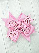 Candy Cane Pink 4 Inch Christmas Hair Bow