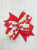 Cherry Red and White Cherries 4 Inch Hair Bow
