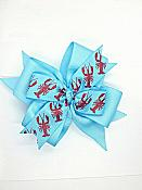 Crawfish Lobster Boil Blue 4 Inch Hair Bow
