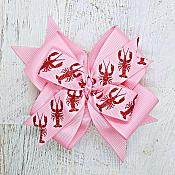 Crawfish Lobster Pink 4 Inch Hair Bow