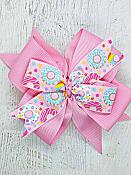 Donuts Pink 4 Inch Hair Bow