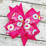 Donut Shocking Pink 4 Inch Hair Bow