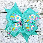 Donut Tropic Turquoise 4 Inch Hair Bow