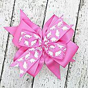 Dinosaur Pink 4 Inch Hair Bow