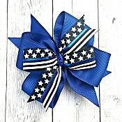 Thin Blue Line Police 4 Inch Blue Hair Bow